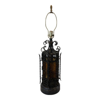 Gothic Spanish Revival Wrought Iron and Stained Glass Lamp For Sale