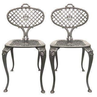 Pair of Thinline by Brown Jordan Polished Aluminum Side Chairs For Sale