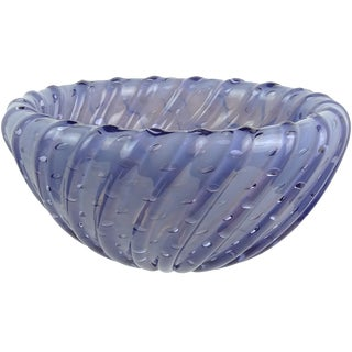 Toso Murano Opalescent Blue Bubbles Italian Art Glass Inverted Ribbed Bowl For Sale