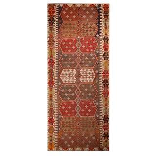 "1930's Vintage Konya Red and Green Wool Kilim Rug-6'5'x15'5"" For Sale"