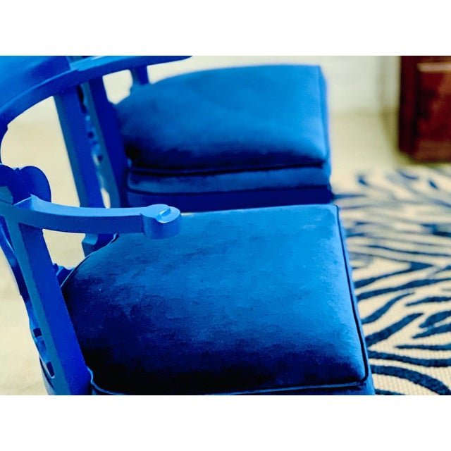 Mid Century Chinoiserie Style Horseshoe Chairs Redefined in Klein Blue - a Pair For Sale - Image 9 of 12