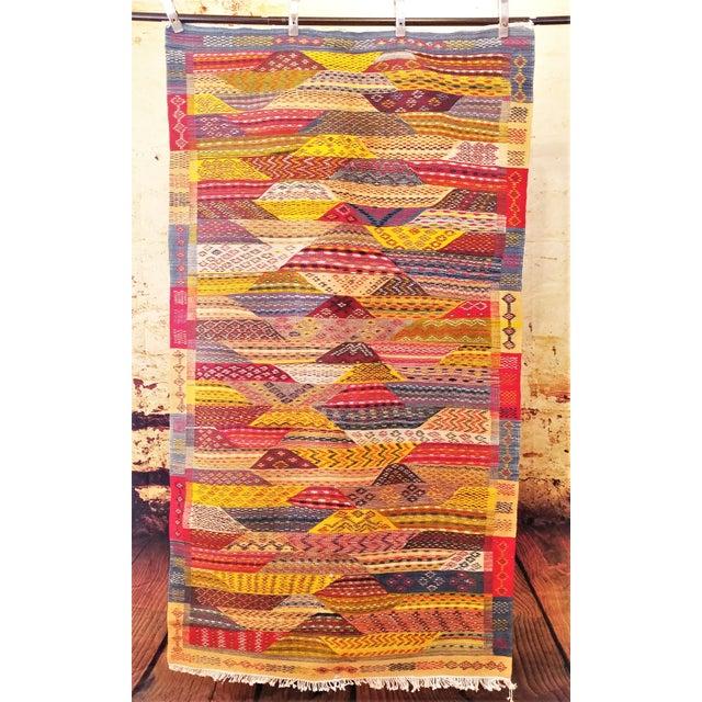 """Moroccan Zanafi Tribe Berber Wool Kilim Area Rug 76.5"""" x 42"""" - Image 2 of 7"""