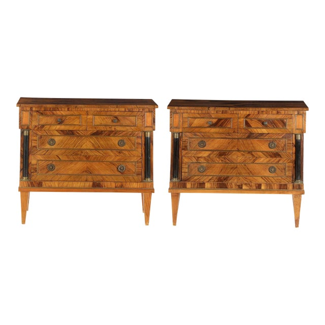 Early 20th Century Antique Empire Style Chests of Drawers - a Pair - Image 1 of 11