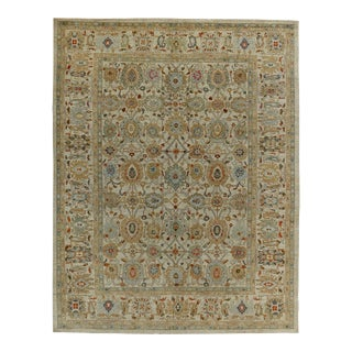 Turkish Rug Sultanabad Design With Gray & Brown Botanical Details For Sale