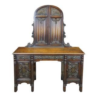 1930s American Furniture Gothic Revival Walnut Burl Vanity Desk Mirror Dressing Table For Sale