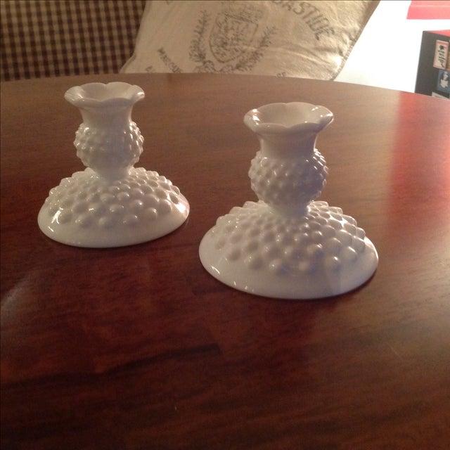 Fenton Hobnail Milk Glass Candlesticks - A Pair - Image 2 of 5