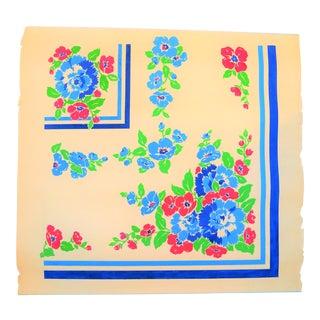 Vintage Floral Deco Gouache Textile Painting on Paper For Sale