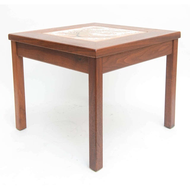 Brown Saltman Mid-Century Modern Walnut Table With Enamel on Copper Inset by Brown Saltman For Sale - Image 4 of 10