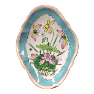 Antique Chinese Footed Oval Plate For Sale