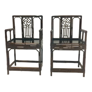 Early 20th Century Chinese Bamboo Armchairs - a Pair For Sale