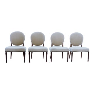 Modern Hickory White Dining Chairs- Set of 4 For Sale