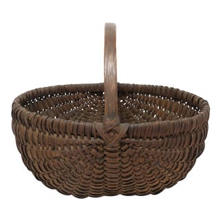 Antique Ash Splint Basket From Maine For Sale