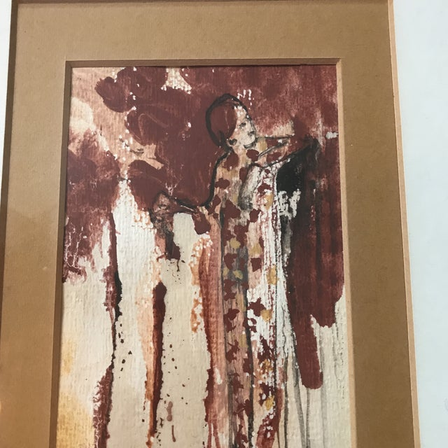 1970s Vintage Watercolor of a Lady Signed Schulman For Sale - Image 5 of 6