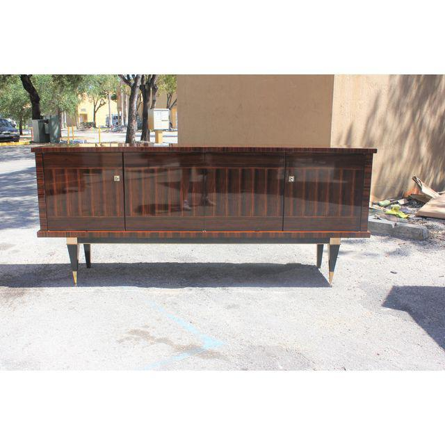 Classic French Art Deco Macassar Ebony Sideboard / Credenza / Buffet Circa 1940s For Sale - Image 12 of 13