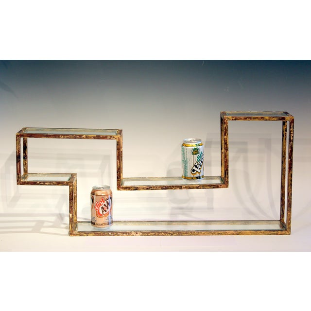 1960s Mid-Century Modern Display Shelf Glass Steel Case Tabletop Curio Gilt For Sale In New York - Image 6 of 12