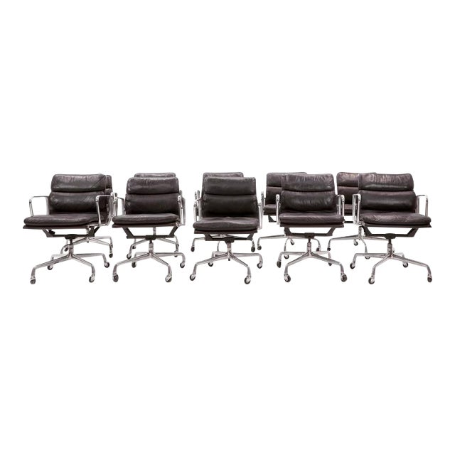 Eames for Herman Miller Leather Soft Pad Aluminum Group Armchairs buy any number - Image 1 of 10