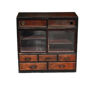 Vintage Japanese Tansu Chest With Tree Branches, 5 Drawers