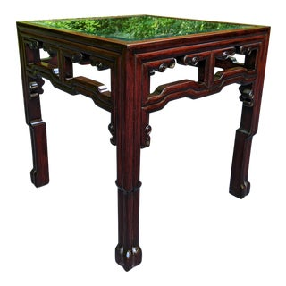 Fine Contemporary Chinese Asian Rosewood Side/End Table W/Glass Top 20x20x21 For Sale