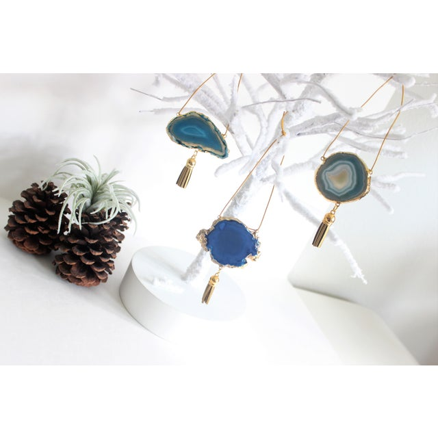 Set of 3 Gold Plated Assorted Agate Ornaments - Image 4 of 7