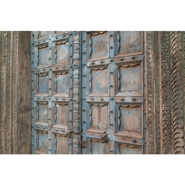 Great Imposing Krishna Painted Indian Door For Sale In Los Angeles - Image 6 of 8