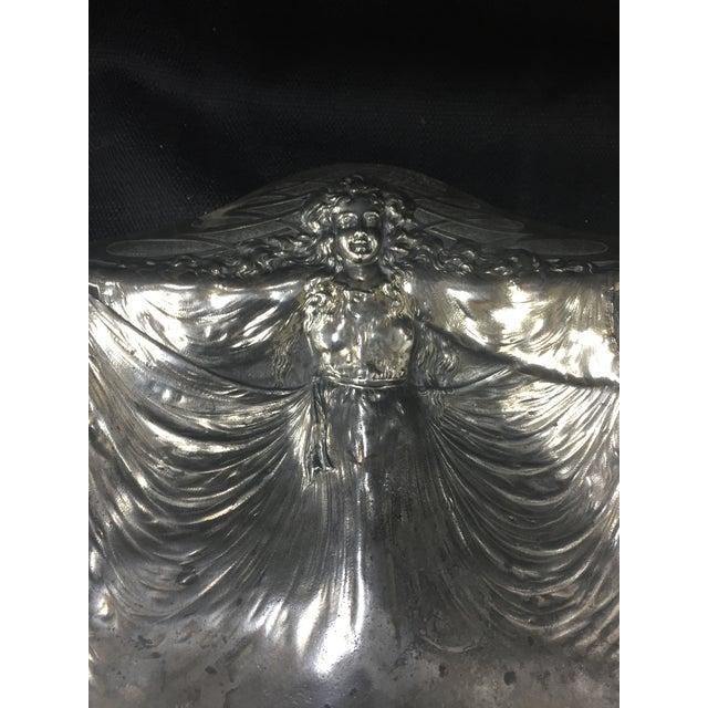 Antique 1900s Art Nouveau Silver Plate Tray For Sale - Image 5 of 8