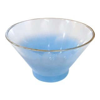 Mid Century Blue and Gold Serving Bowl
