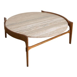 Bertha Schaefer Travertine & Walnut Coffee Table For Sale