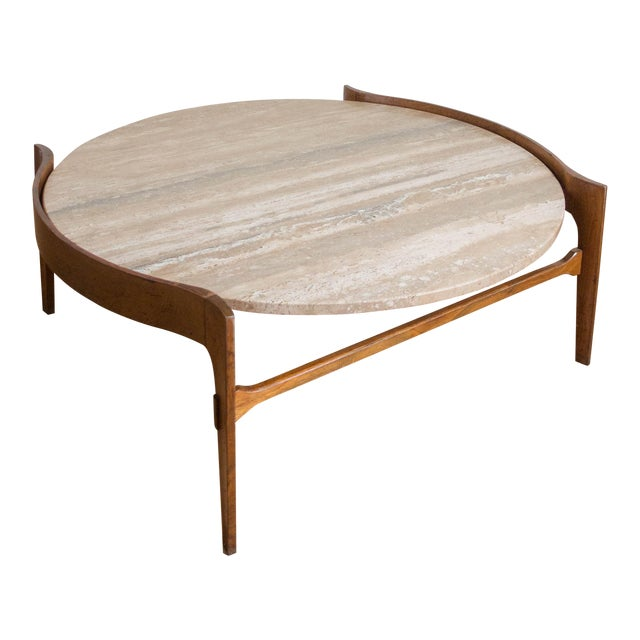 Bertha Schaefer Travertine & Walnut Coffee Table For Sale