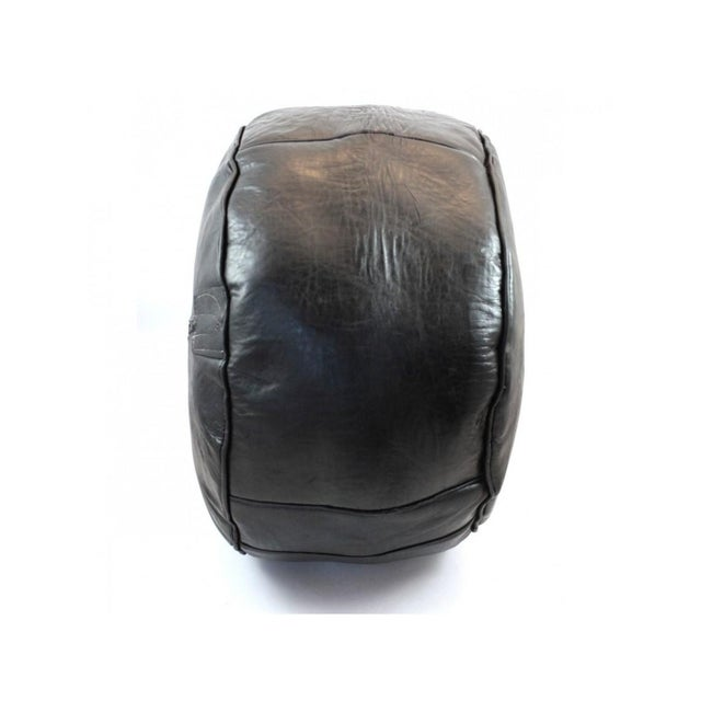 Black Leather Moroccan Pouf/Ottoman - Image 3 of 5