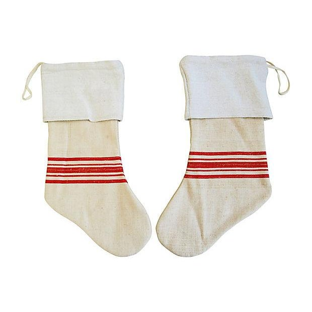 French Grain Sack Christmas Stockings - Pair - Image 4 of 6