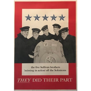 1943 Vintage American Wwii Poster, They Did Their Part, Sullivan Brothers For Sale