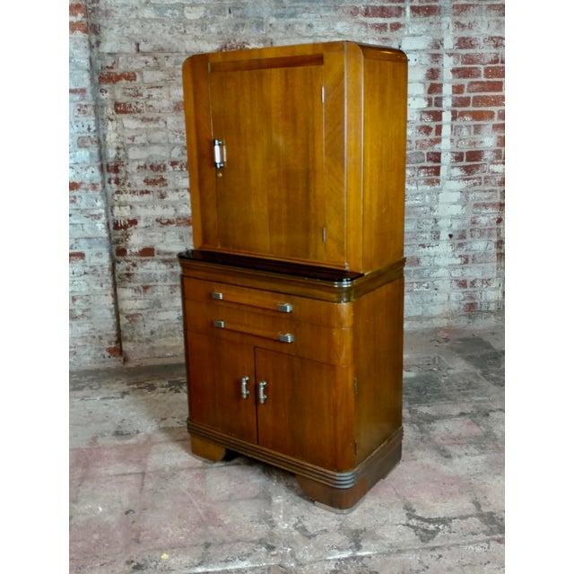 "Art Deco Original 1930s Walnut Dental cabinet size 29 x 16 x 60"""