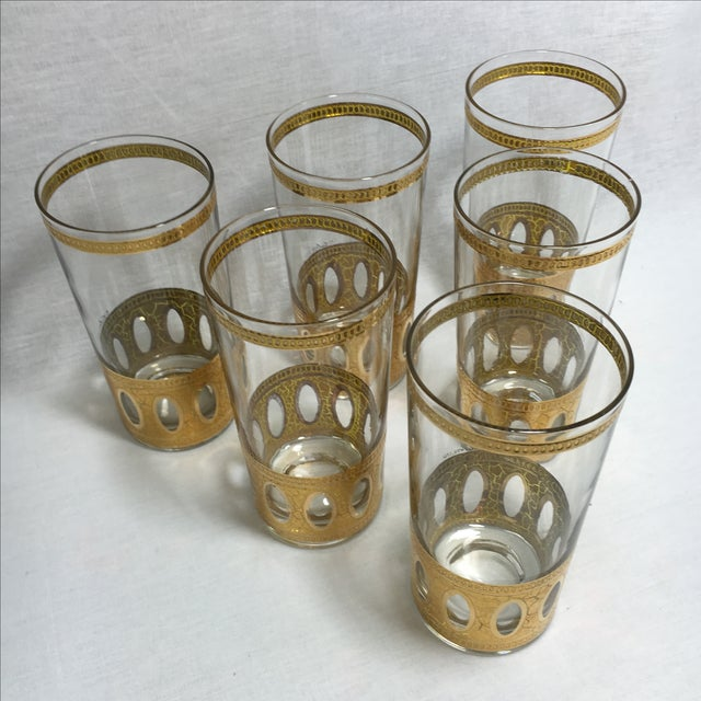 Mid-Century Culver Gold High Ball Glasses - S/6 - Image 5 of 5