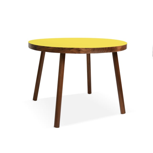 "Nico & Yeye Poco Large Round 30"" Kids Table in Walnut With Yellow Top For Sale - Image 4 of 4"