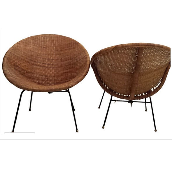 Mid-Century Rattan Wicker Hoop Chairs - Pair - Image 4 of 9