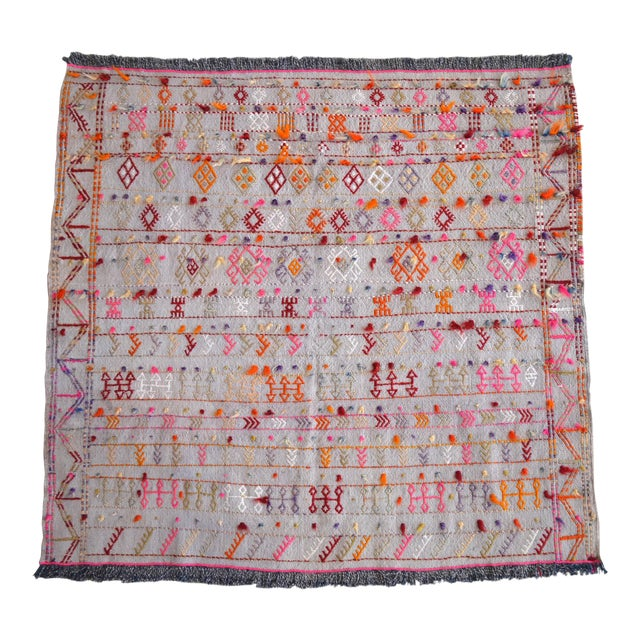 """Antique Anatolian Braided Rug Hand Woven Cotton Small Rug Sofreh - 3'7"""" X 3'10"""" For Sale"""