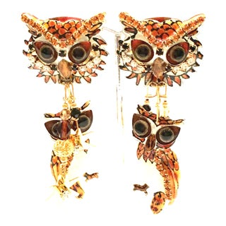 "1980's Lunch at the Ritz Gold Enamel & Swarovski Crystal ""Owl"" Earrings For Sale"