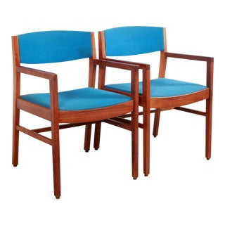 Mid Century Modern Jens Risom Style Walnut Arm Chairs- A Pair For Sale