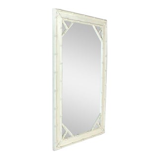 Faux Bamboo White Lacquer Frame Rectangular Wall Mirror For Sale