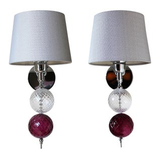 Modern Italian Design Blown Glass Sconces - a Pair For Sale