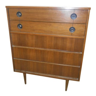 1960s Mid-Century Danish Modern Stanley FinnLine Walnut 5-Drawer Gentleman's Chest For Sale