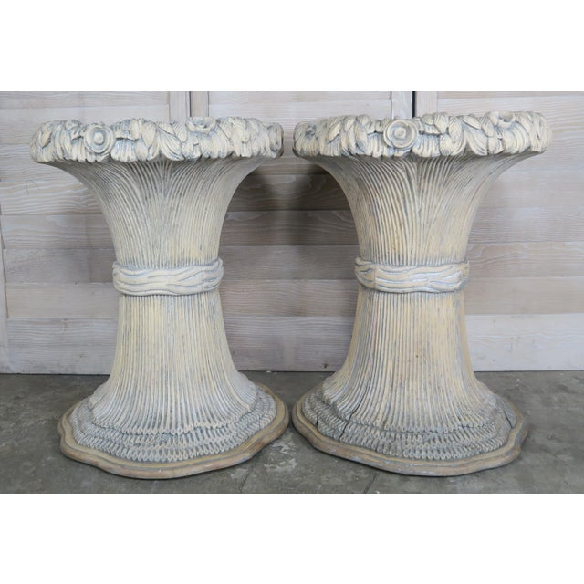 Pair of French painted carved wood planters that are designed as large bunches of wheat. Imagine them filled with...