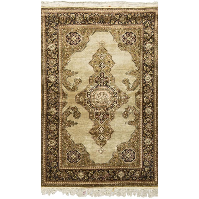 Antique Persian Silk Quom Rug - 3' X 5' For Sale