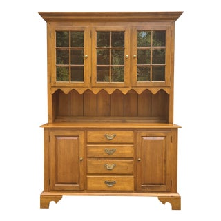 Ethan Allen Circa 1776 Collection Colonial Maple China Cabinet For Sale