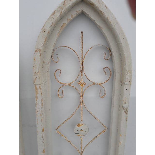 Rustic Farmhouse Cathedral Grill Shabby Window Wall Hangings - a Pair For Sale - Image 4 of 7