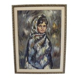 Image of Vintage Mid-Century Signed Oil Painting of Girl For Sale