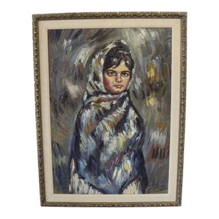 Vintage Mid-Century Signed Oil Painting of Girl For Sale