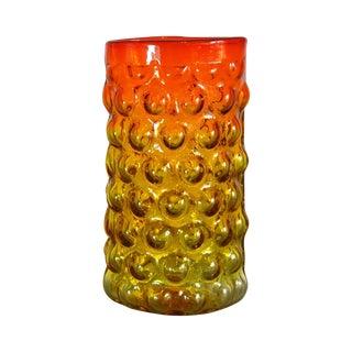 Mid-Century Blenko Tangerine Bubble Wrap Vase For Sale