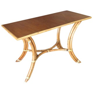 """Rattan """"Hour Glass"""" Sofa or Console Table With Mahogany Top For Sale"""