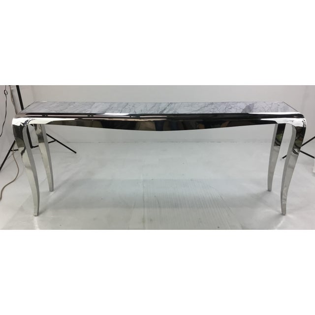2010s Caracole Chrome and Carrara Marble Magnificent Console Table For Sale - Image 5 of 5